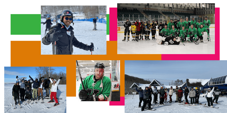 net2phone Canada employees participating in group outdoor activities like hockey and skiing