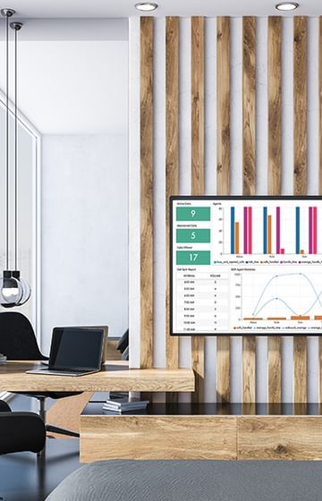 analytics on a screen in a meeting room