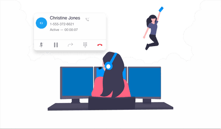 Illustration of woman wearing headset in front of three desk top screens with contact information - net2phone Canada - Business VoIP Phone System