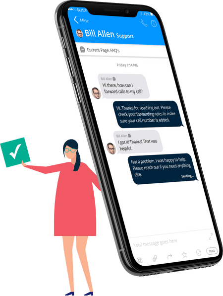 Illustration of woman holding smart phone with messages - net2phone Canada - Business VoIP Phone System
