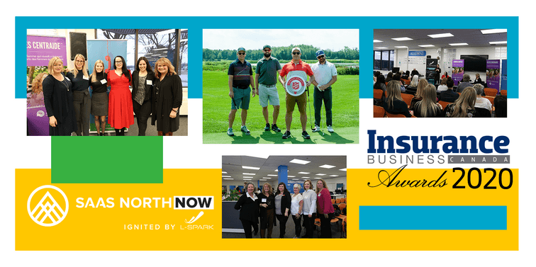 collage of net2phone Canada employees at events SAAS North, golf tournaments, Insurance Business Awards