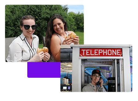Grab a drink - Burger Lunches - Telephone booth - net2phone Canada - Business VoIP Phone System