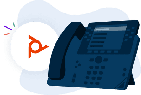 an illustration of a poly phone and the Poly logo