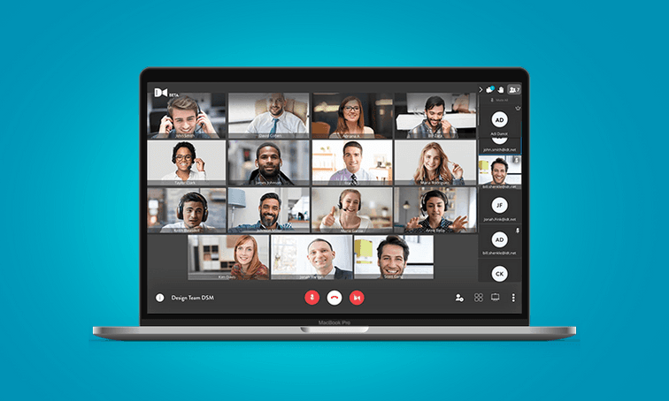 net2phone Canada Huddle, a video conference on a laptop screen