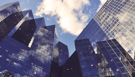 Large glass buildings downtown - net2phone Canada - Business VoIP Phone System