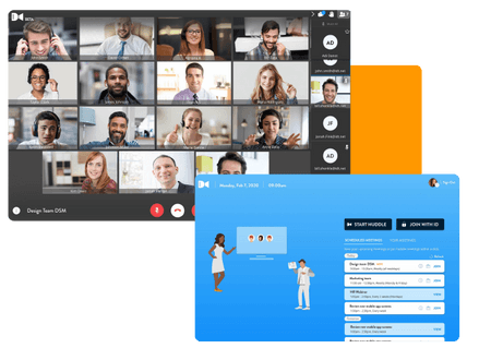 product shot of Huddle video conferencing platform with Huddle video conferencing lobby screen - net2phone Canada - Business VoIP Phone System
