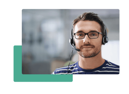 man with headset and glasses