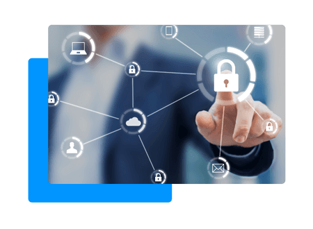 business man pointing at illustrated padlock with network of other icons connected including a cloud, lap top and email