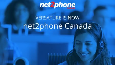 Cover photo of woman talking in headset at a call centre with net2phone Canada logo - business phone service