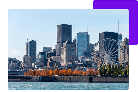 Cityscape of Quebec beside water - net2phone Canada - Business VoIP Phone System