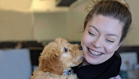 net2phone canada employee with a puppy