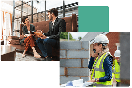 business woman and man in conversation on a bench and construction worker speaking on mobile device