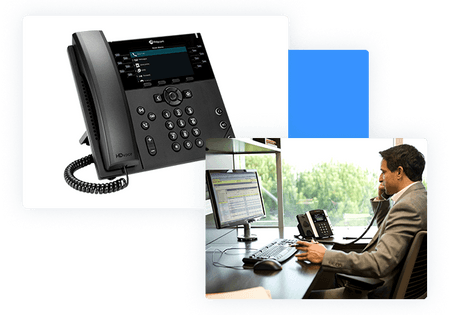 Desktop phones - Man speaking on Poly Phone - net2phone Canada - Business VoIP Phone System