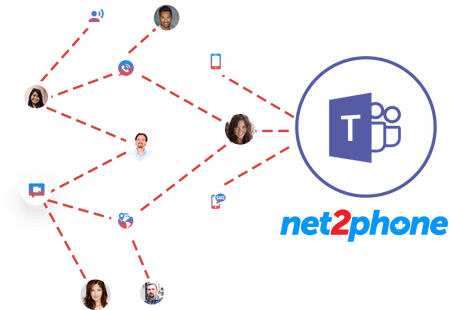 headshots linked by red lines to Microsoft Teams logo - net2phone Canada - Business VoIP Phone System