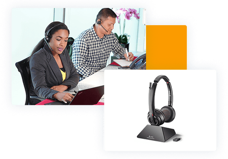 Headsets - man and woman wearing phone headsets and headset display - net2phone Canada - Business VoIP Phone System