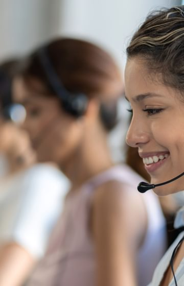 A woman on a headset