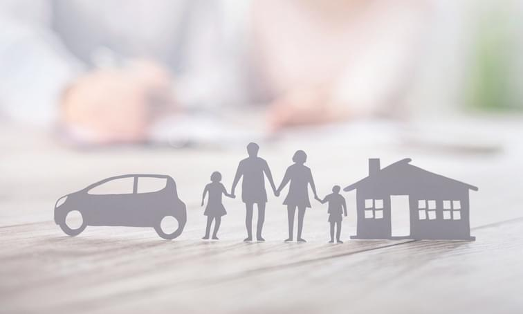 Insurance protecting family health life house and car cut out - net2phone Canada - Business VoIP Phone System