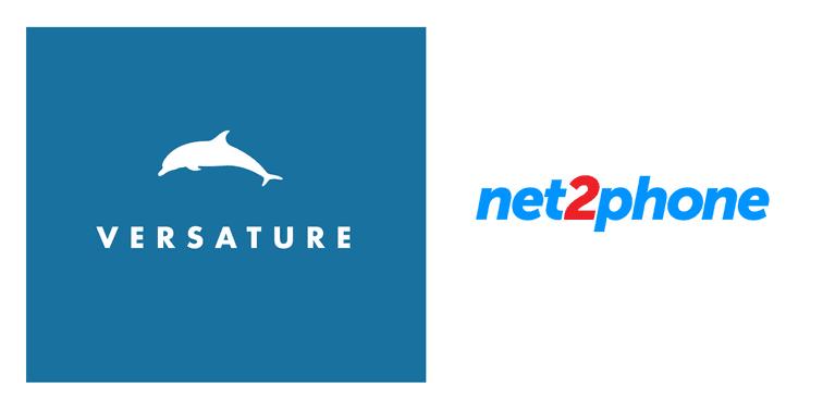 versature logo beside net2phone logo