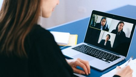 A woman on a video conference