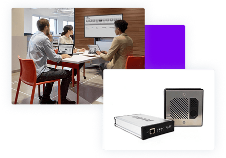 Paging Door device and meeting with three people around table looking at wallboards - net2phone Canada - Business VoIP Phone System