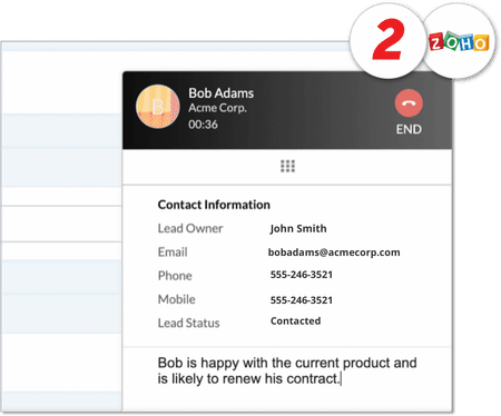 Screenshot of contact information on net2phone Canada Zoho integration - Business VoIP Phone System