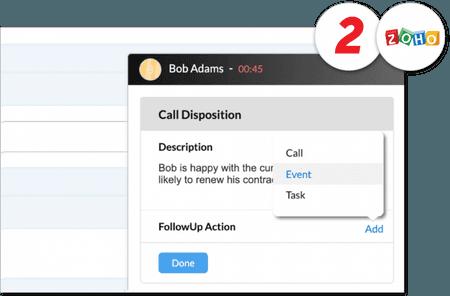 Screenshot of net2phonr Canada Zoho integration - Business VoIP Phone System