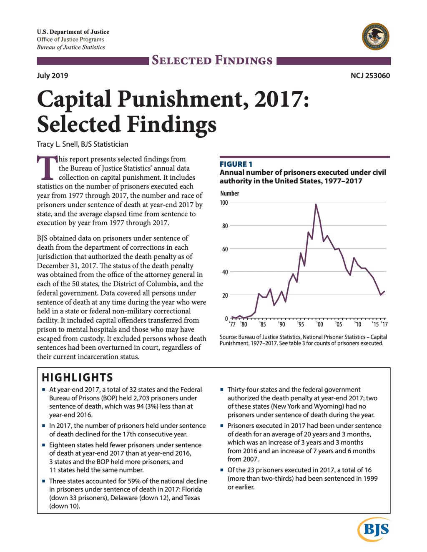 Bureau of Justice Statistics Releases 2017 Data on U.S. Capital Punishment