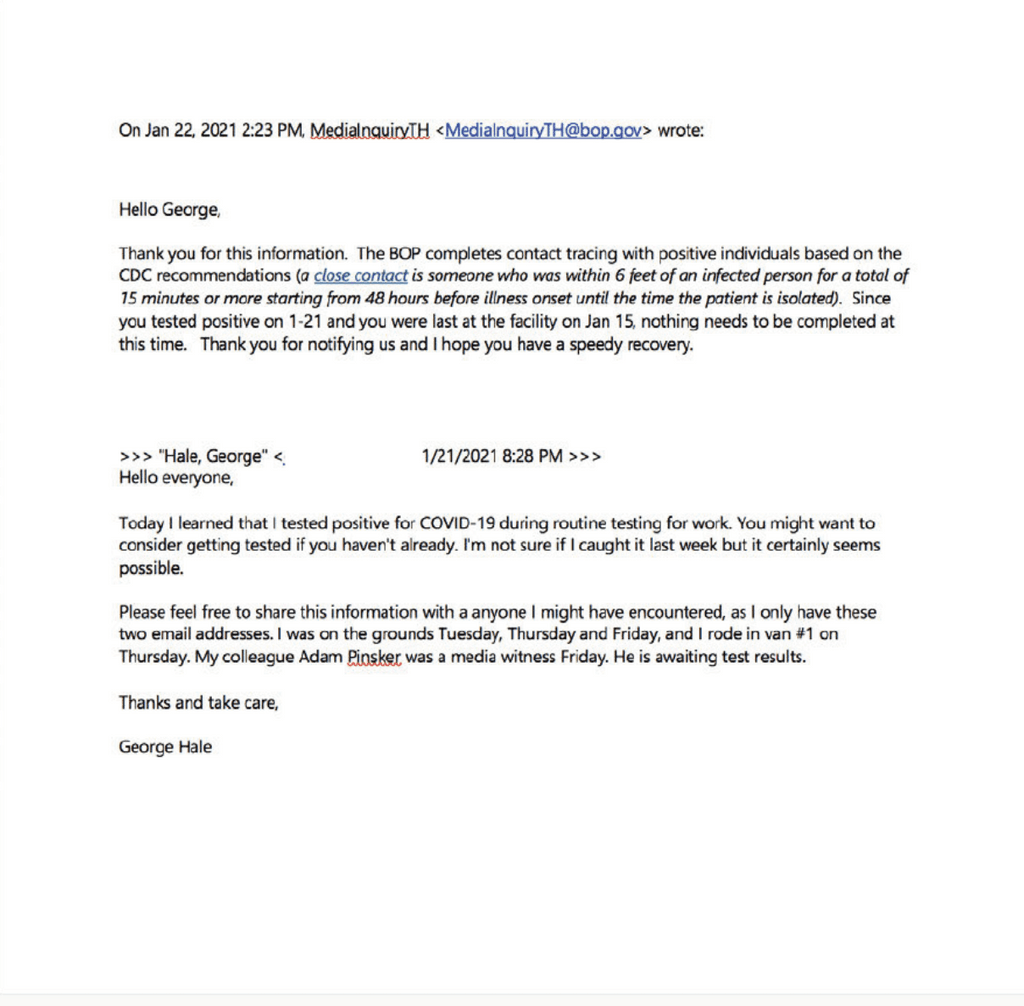 January 21, 2021 email from Indiana Public Media reporter George Hale to the Bureau of Prisons and the BOP's January 22 reply. (Click to enlarge image.)