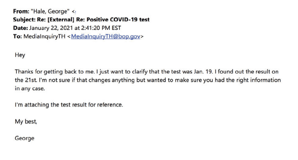 Hale's follow-up email to the Bureau of Prisons on January 22, 2021. (Click to enlarge image.)