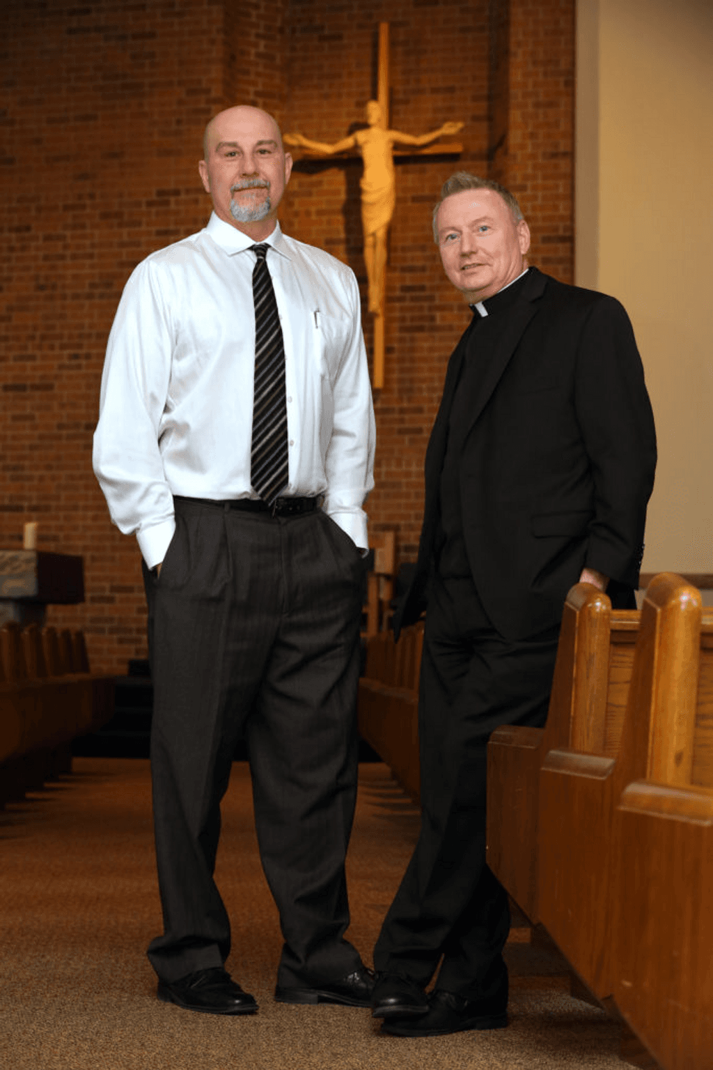 Joe D'Ambrosio with Rev. Neil Kookoothe, who worked for many years toward the exoneration.