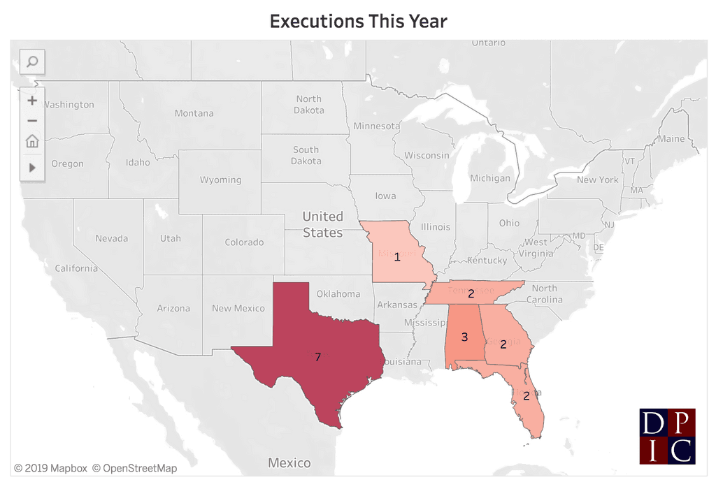 With Missouri's execution of Russell Bucklew on October 1, 2019, six U.S. states have carried out 17 executions in 2019. Bucklew was the first prisoner executed in Missouri in 2019.