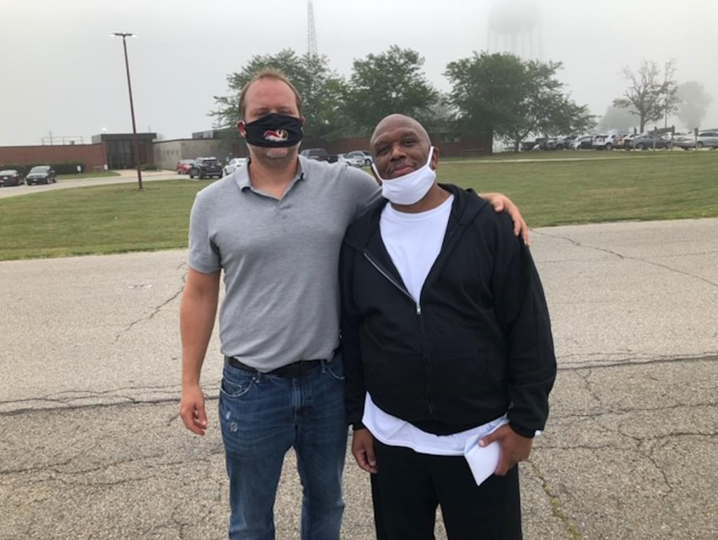 Jeffrey Hill, right, with his lawyer, assistant federal defender Justin Thompson, after his release on parole September 1, 2020.