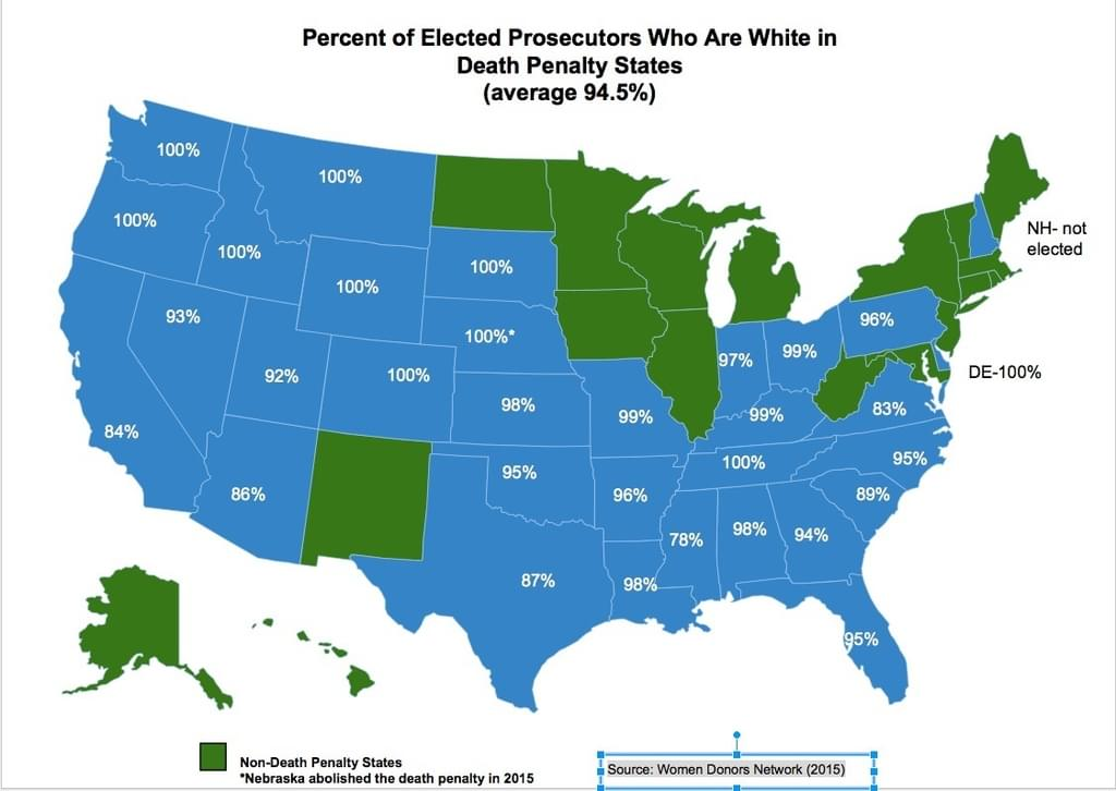 Race of prosecutors in death-penalty states as of 2015. [Note: The abolition of the death penalty in Nebraska mentioned in the graphic was halted by a voter referendum and never went into effect.]