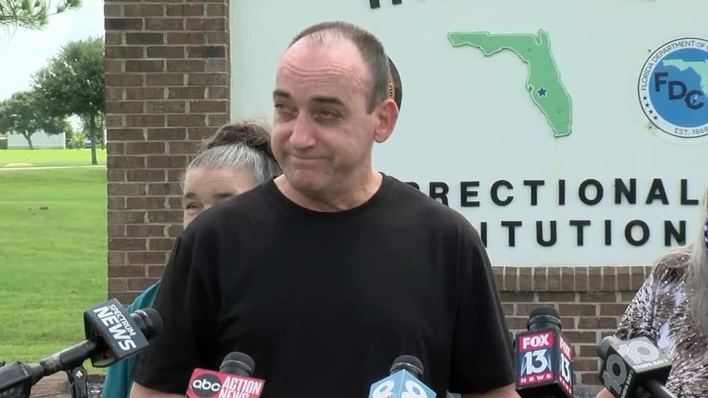 Robert DuBoise speaks to reporters outside the Hardee Correctional Institution following his release. Screenshot of WFTS, Tampa coverage of his release. Above photo: Martha Asencio-Rhine, Tampa Bay Times