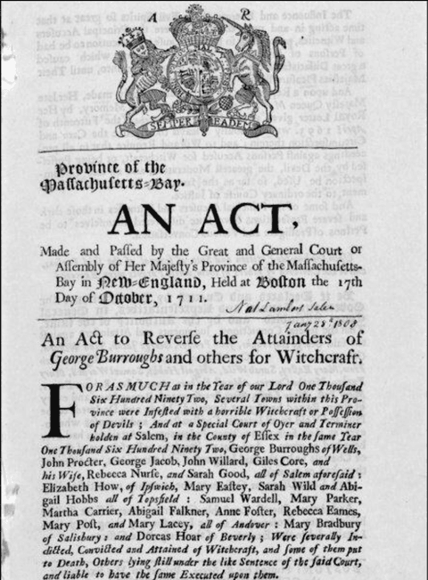 The 1711 act of the Massachusetts legislature to reverse the Salem witchcraft convictions (image: Library of Congress)