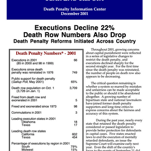 The Death Penalty in 2001: Year End Report