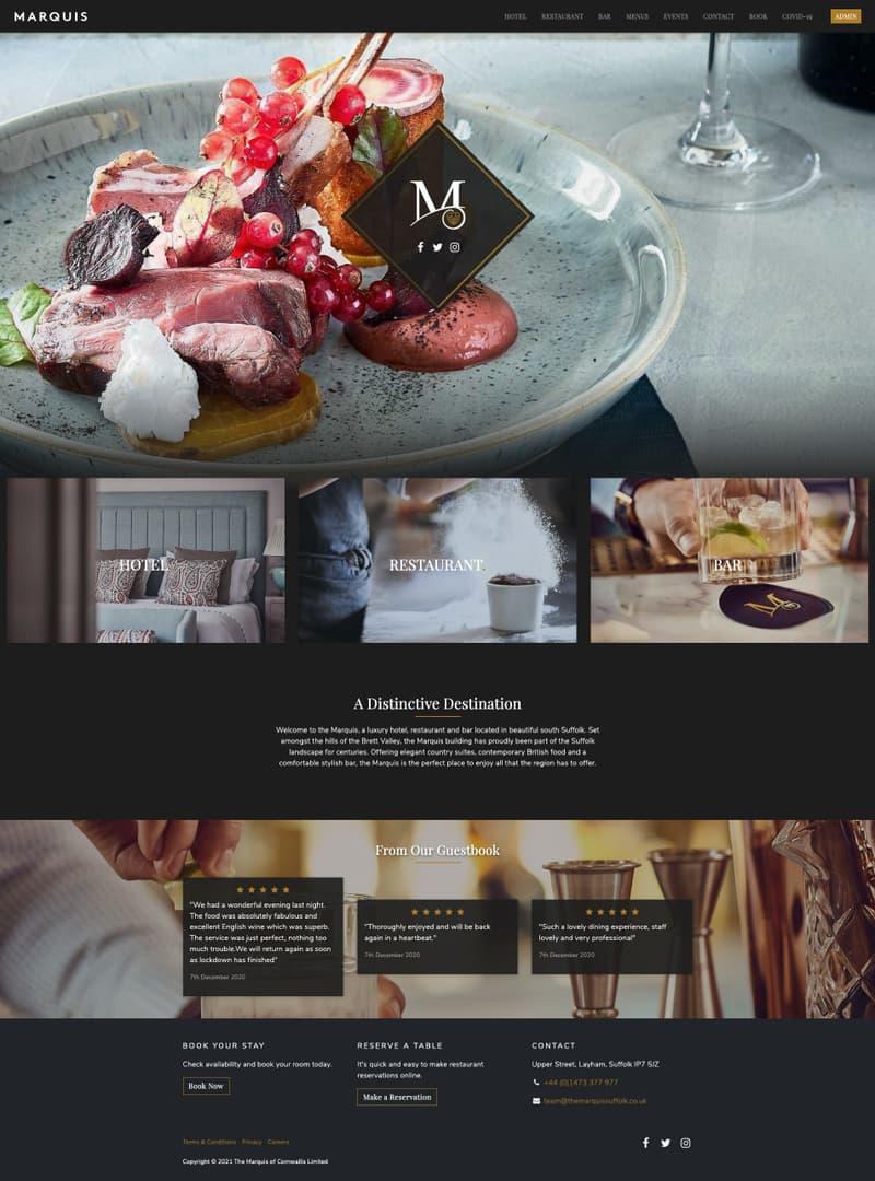 Screenshot of Hospitality & Fine Dining website