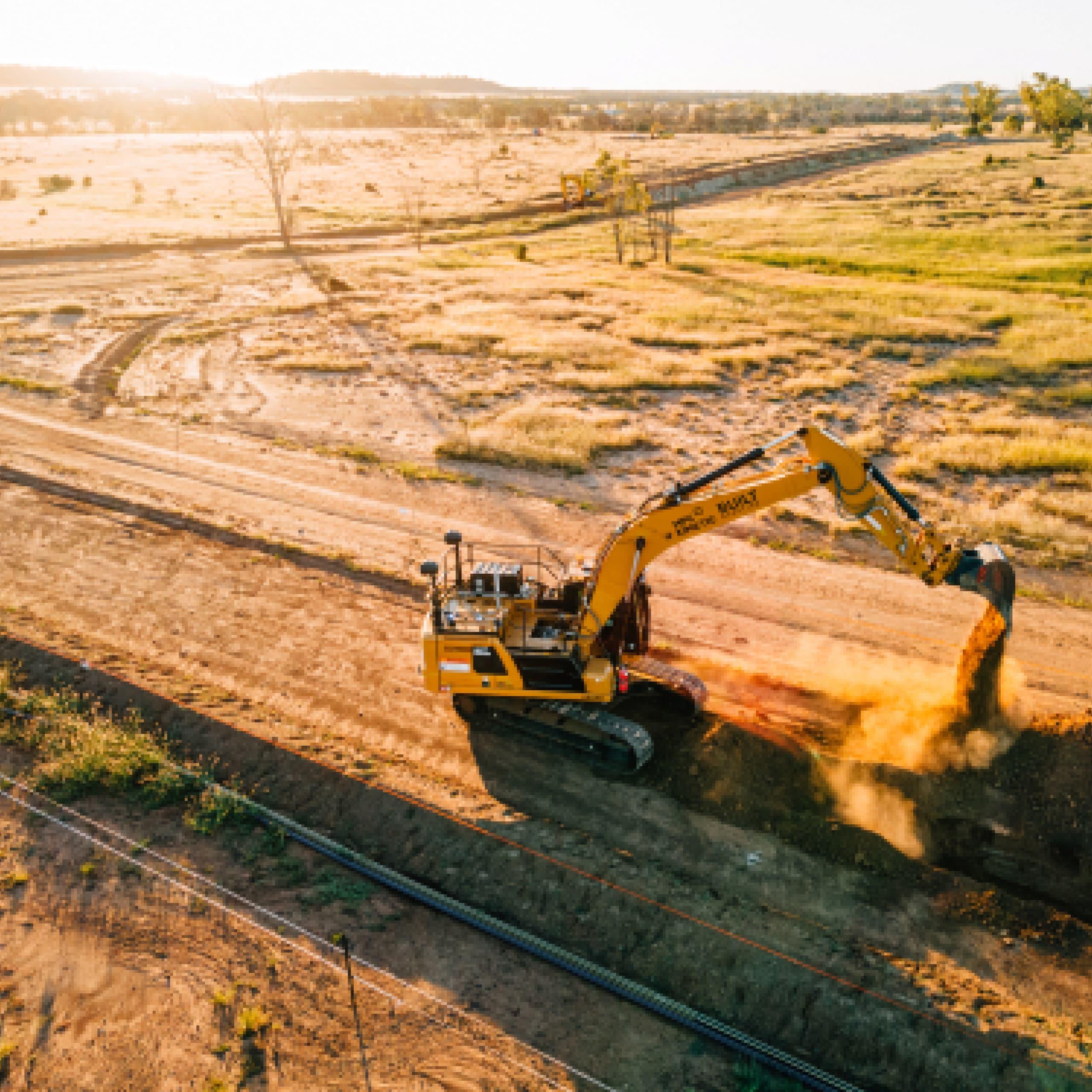 Aerial excavator trench autonomous digging