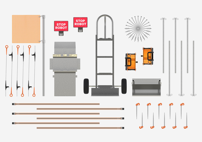 Safety cart field kit built robotics flatlay