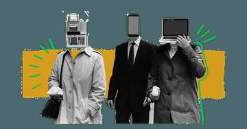 Quiply Illustration drei Menschen mit Laptop Smartphone Kasse Kopf 4:3