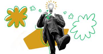 Quiply Mitarbeiter-App Illustration Mensch mit Lampe schreibt in Notizbuch