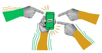 Quiply Illustration Finger zeigen auf Smartphone mit Logo