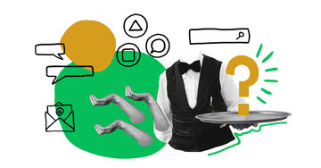 Quiply Mitarbeiter-App Illustration Internal Servicekraft kommuniziert