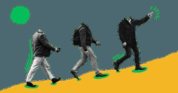 Quiply Mitarbeiter-App Illustration drei Männer besteigen Berg