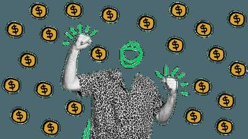 Quiply Mitarbeiter-App Illustration Mann in Hemd freut sich Geldmünzen