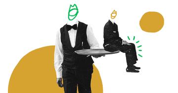 Quiply Mitarbeiter-App Illustration Servicekraft serviert Mensch im Sitzen