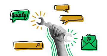 Quiply Mitarbeiter-App Illustration Tools Suche und E-Mail