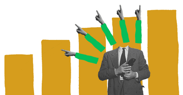 Quiply Mitarbeiter-App Illustration Trends Finger zeigen nach Oben
