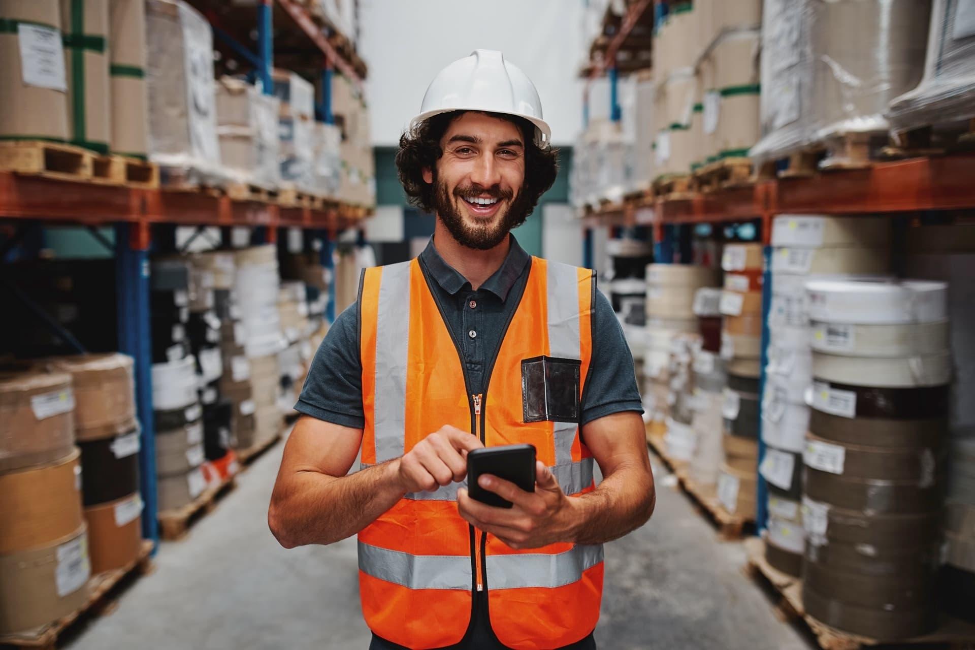 Logistiker Lager Man Smartphone