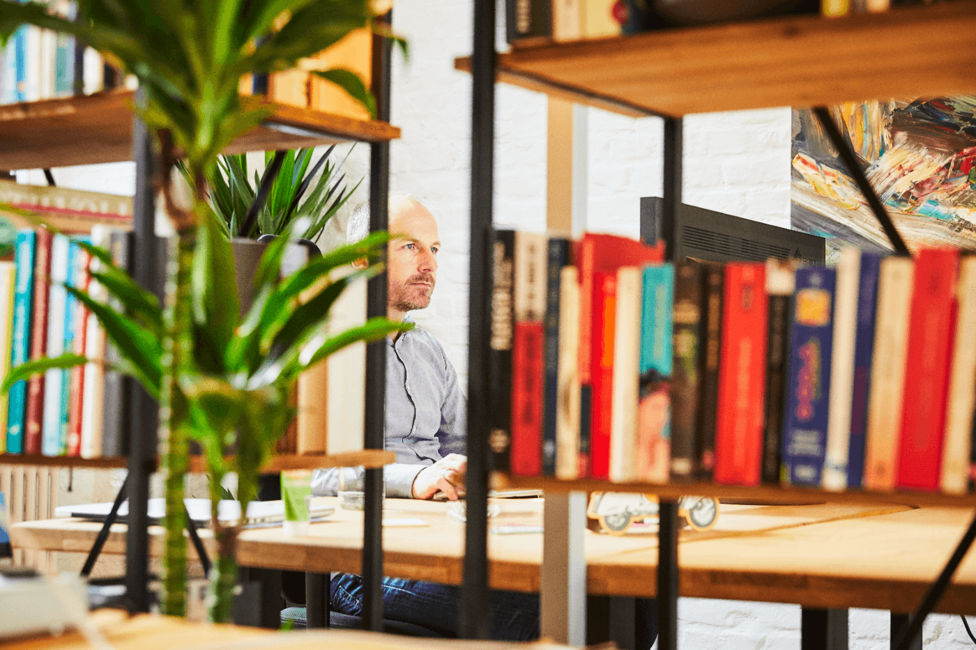 Quiply Büro Mann hinter Bücherregal PC Arbeit